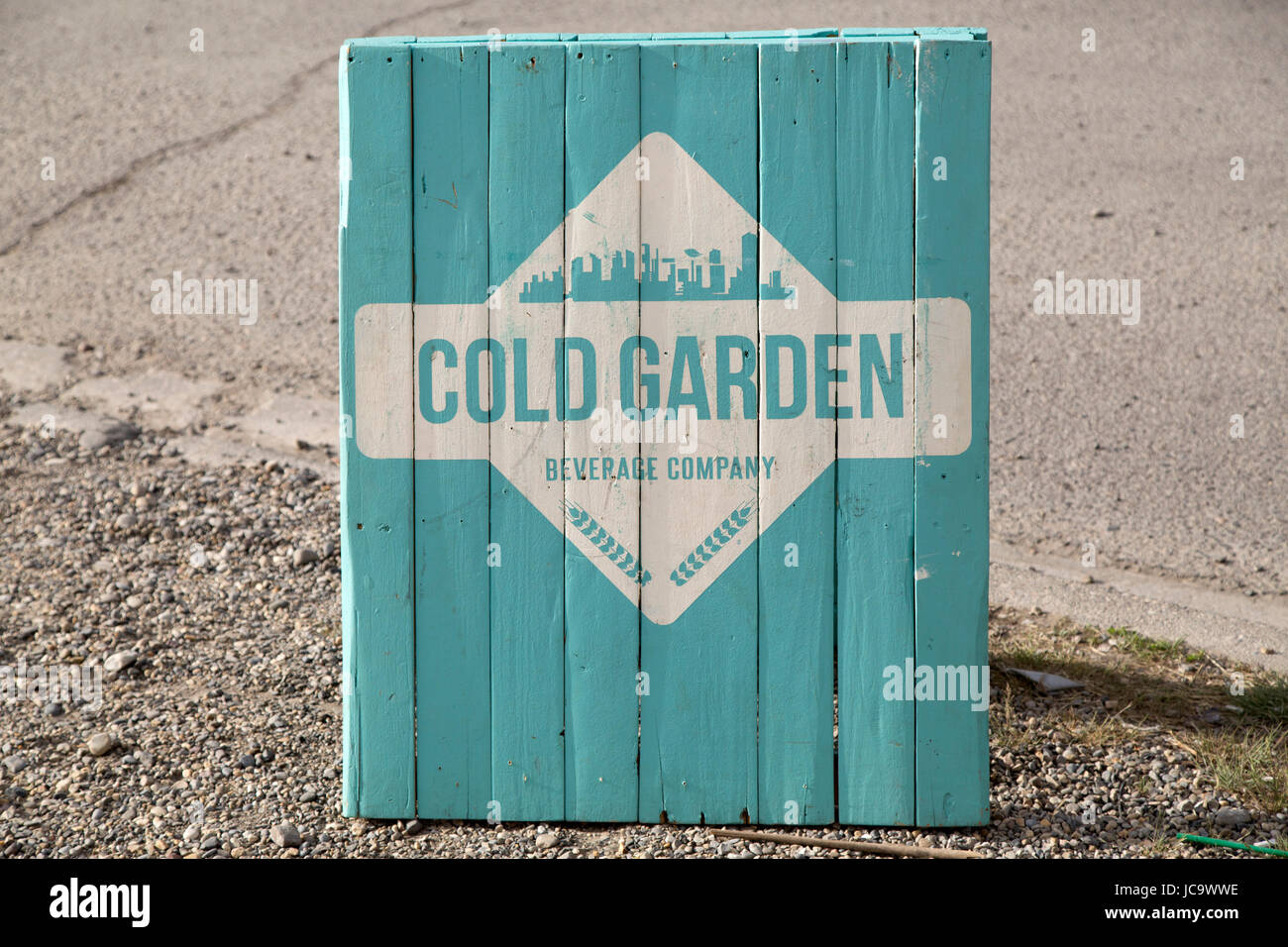 Sign for the Cold Garden Beverage Company at the Inglewood district of Calgary, Canada. The microbrewery opens for - Stock Image