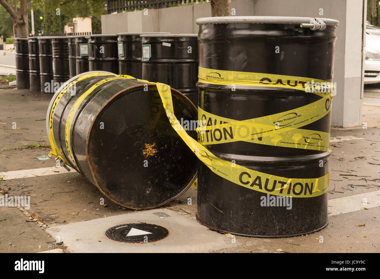 Caution Barrel Of Waste Containers Stock Photo