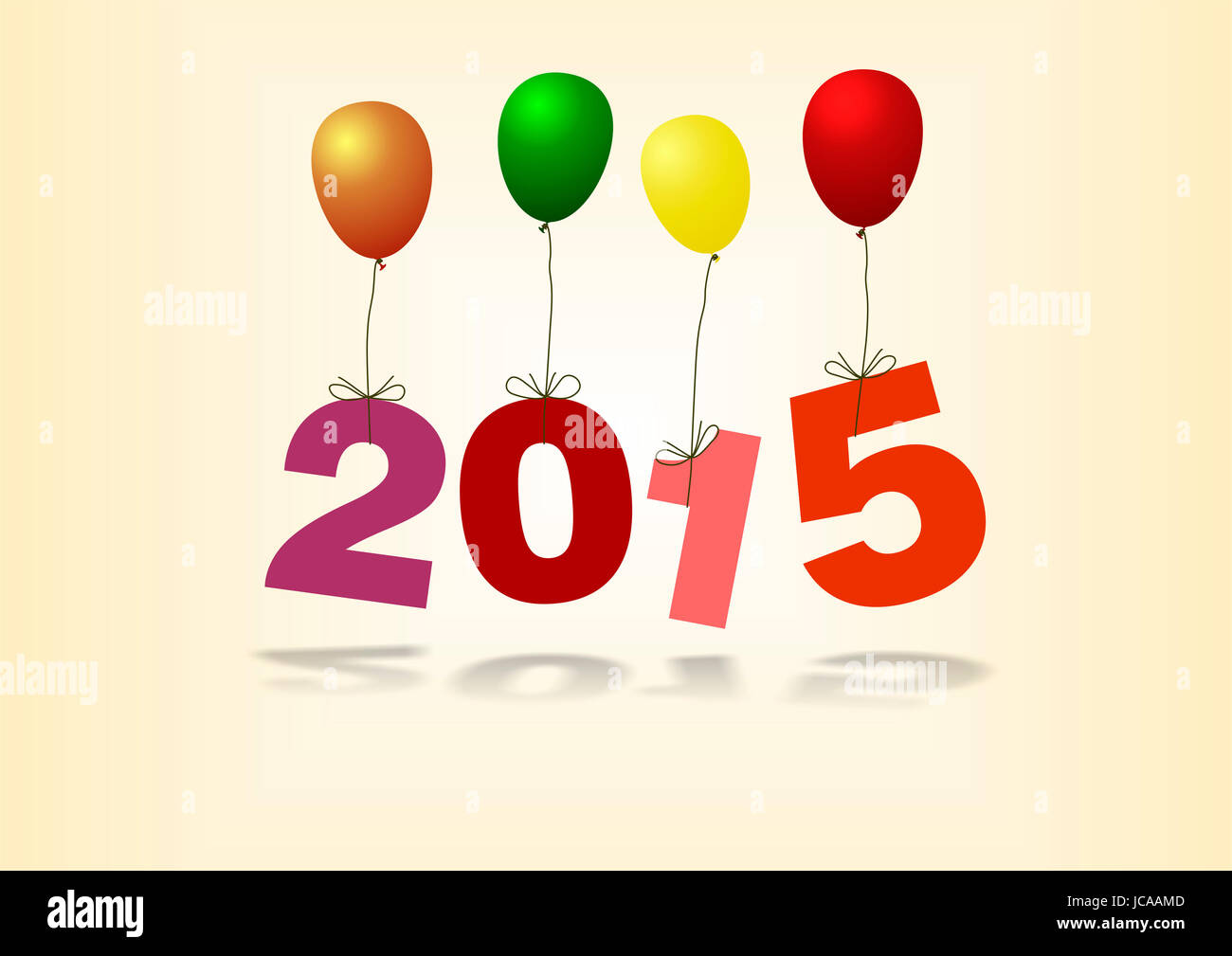 Jahreszahl 2015 hängt an bunten Luftballons - Stock Image