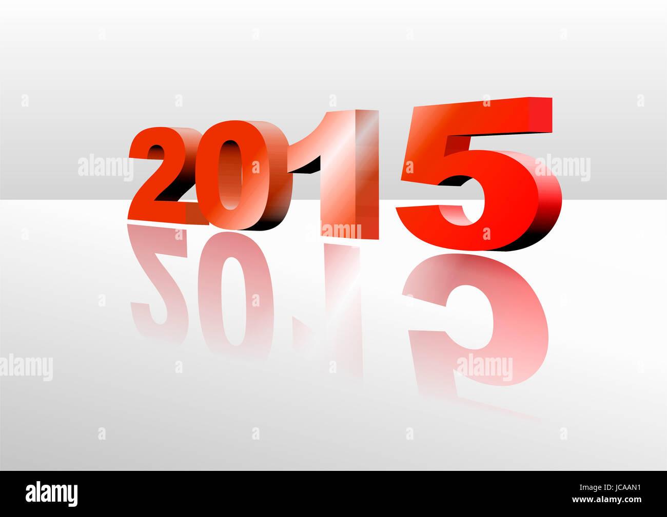 Illustration der Jahreszahl 2015 mit Spiegelung - Stock Image