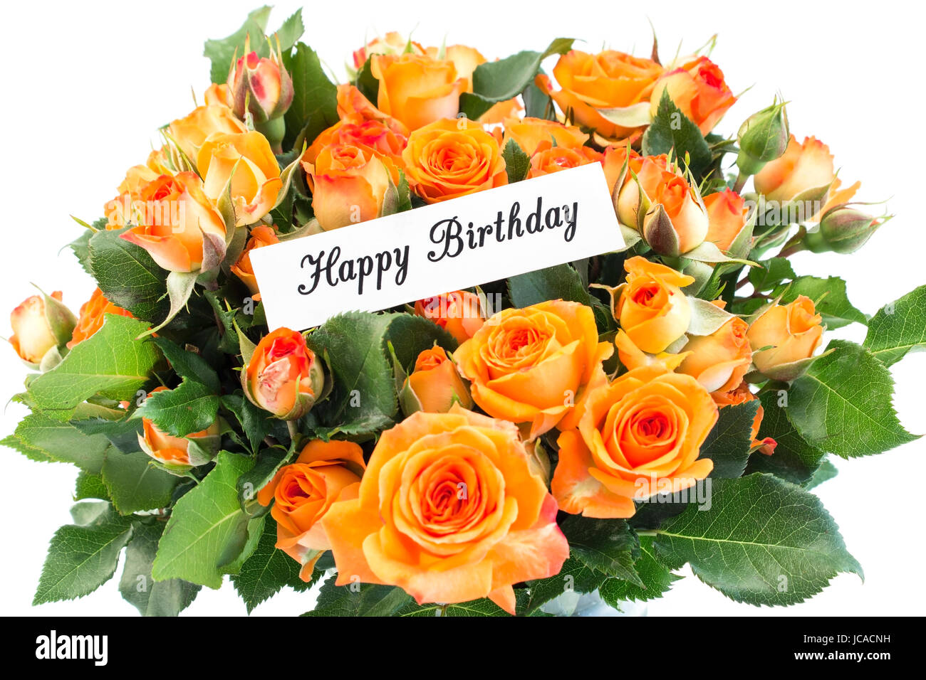 Happy birthday card with bouquet of orange roses on white background happy birthday card with bouquet of orange roses on white background izmirmasajfo