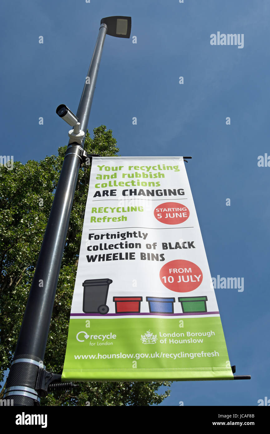 hounslow council banner advising of changes to rubbish and recycling collections - Stock Image