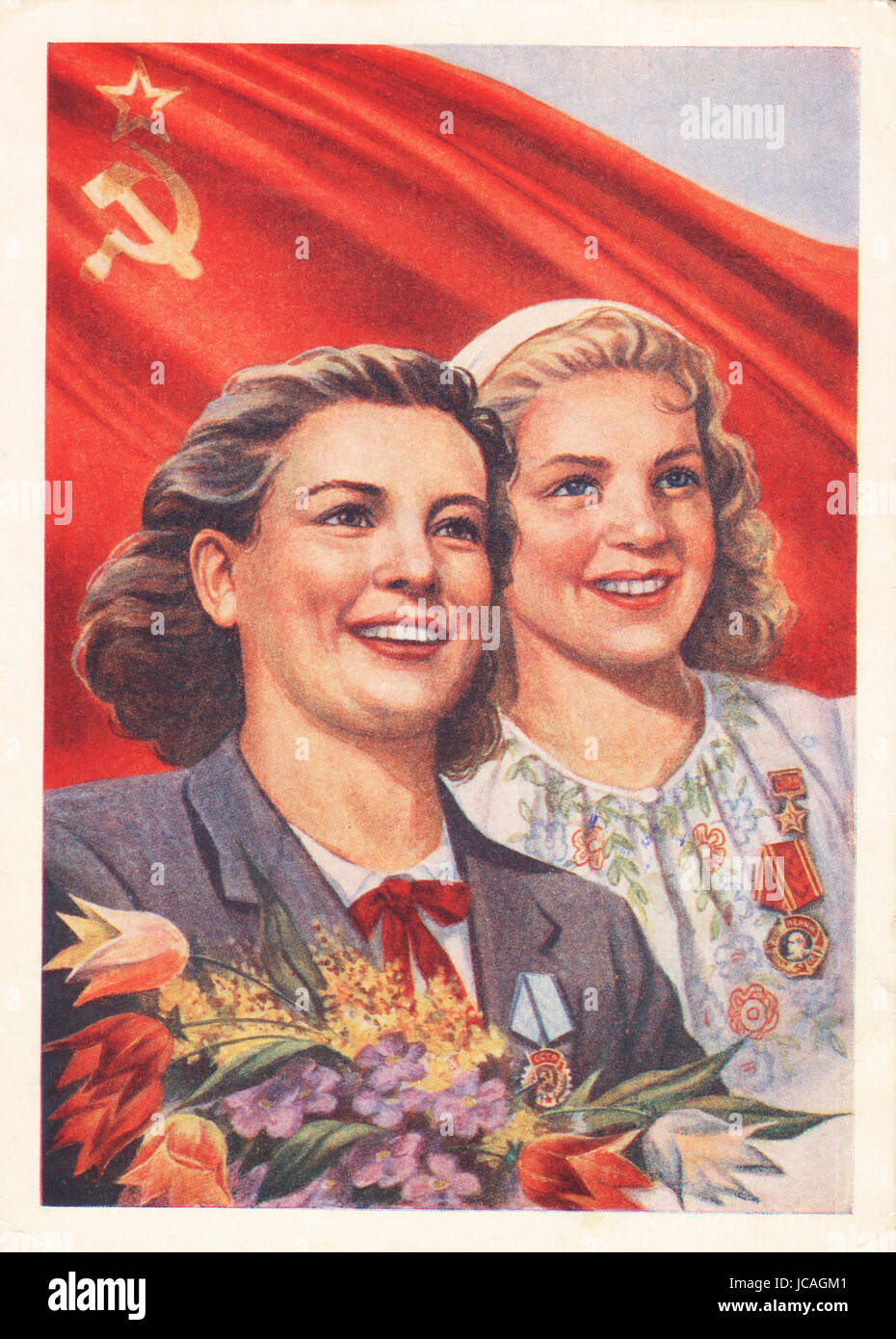Vintage picture post card Two happy soviet working women, circa 1960 - Stock Image