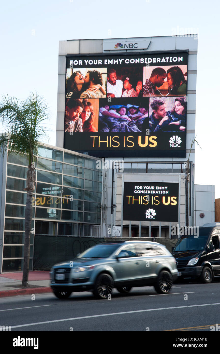 Electronic outdoor advertising display for NBC on the Sunset Strip in Los Angeles, CA - Stock Image