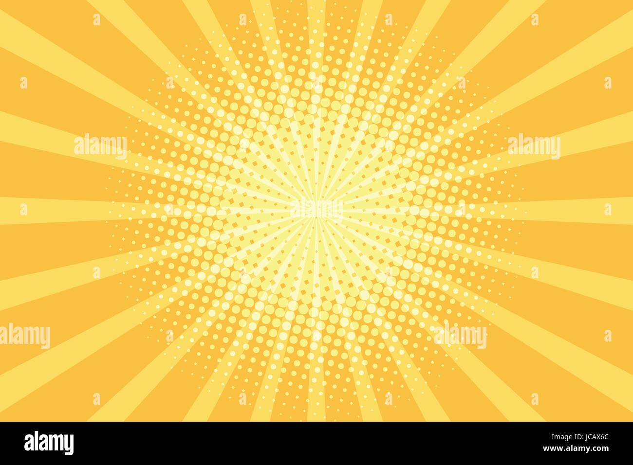 yellow rays pop art background. retro vector illustration - Stock Image