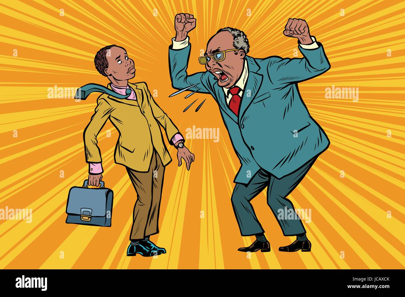 Boss scolds businessman. African American people. Conflicts at work. Pop art retro vector illustration - Stock Vector
