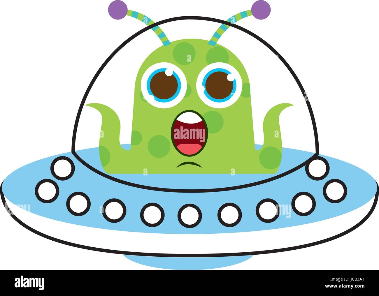unidentified flying object with alien - Stock Image