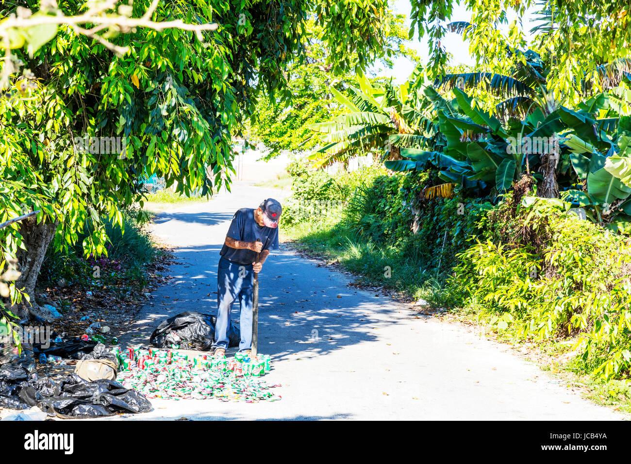 Old Cuban man recycling tin cans, Cuban recycling, crushing tin can, Cuban man, old man, pensioner, oap, poor man, - Stock Image