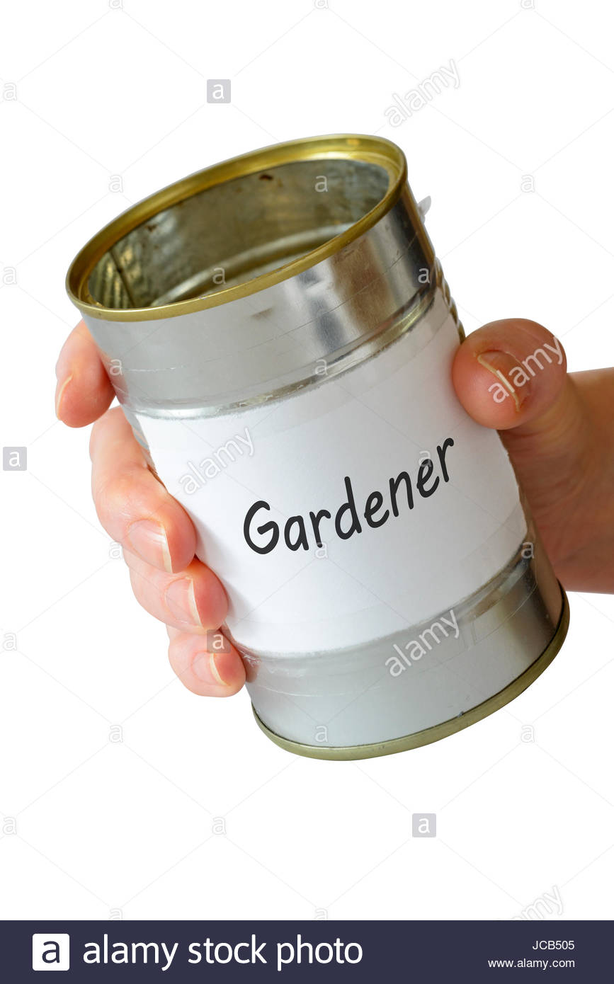 Gardener, empty begging can, England, UK - Stock Image