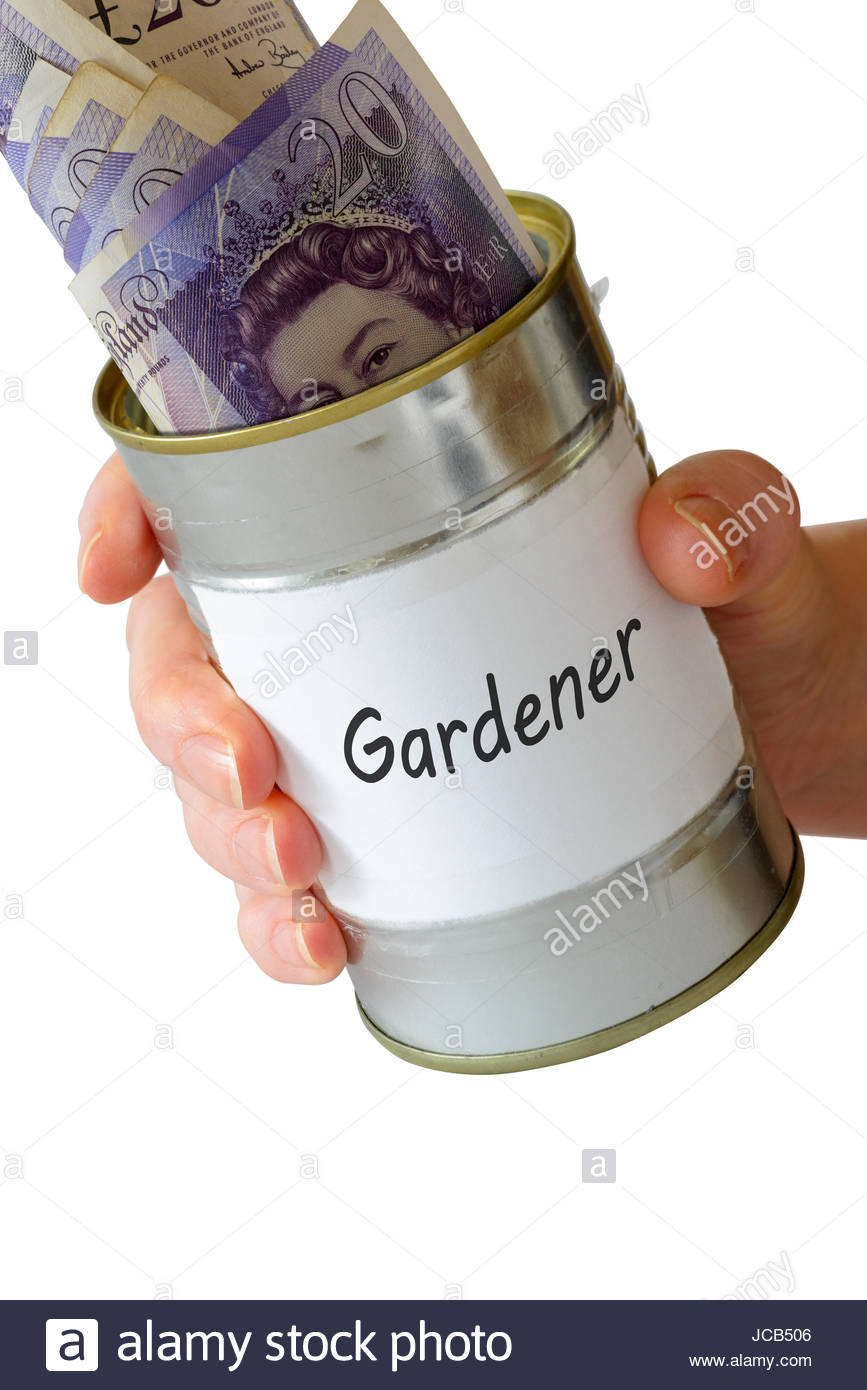 Gardener, Begging tin can, England, UK - Stock Image