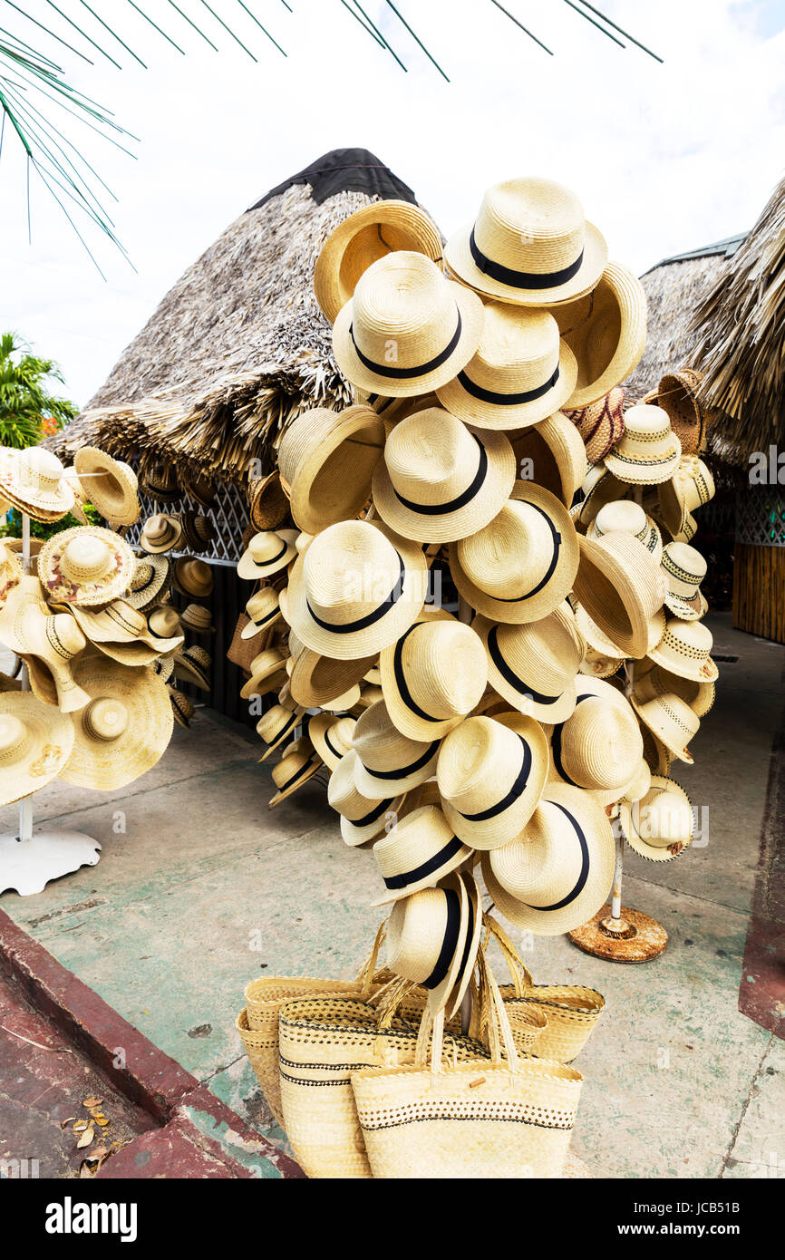 Cuban hats, on hat stand, hats for sale, Cuba, Cuban, hat, hats, Straw hats, Straw hat,  accessory, cuban hat, cuban - Stock Image