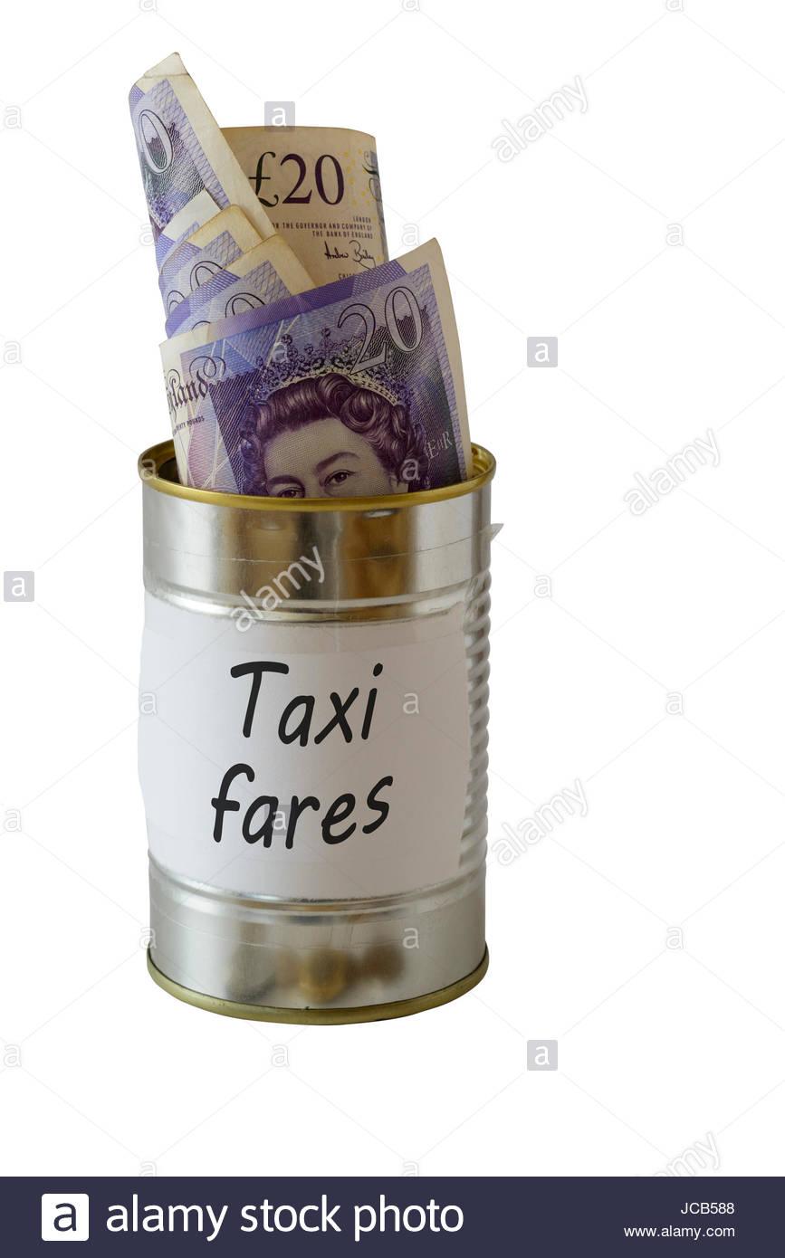 Taxi fares, cash kept in a tin can, England, UK - Stock Image