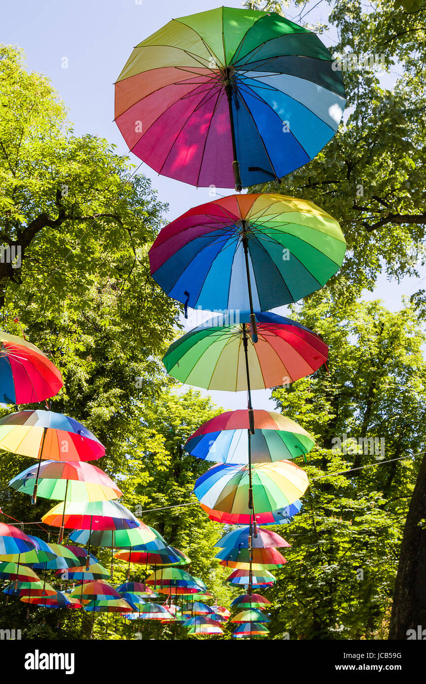 open color decoration umbrellas on green leaf background Stock Photo ...