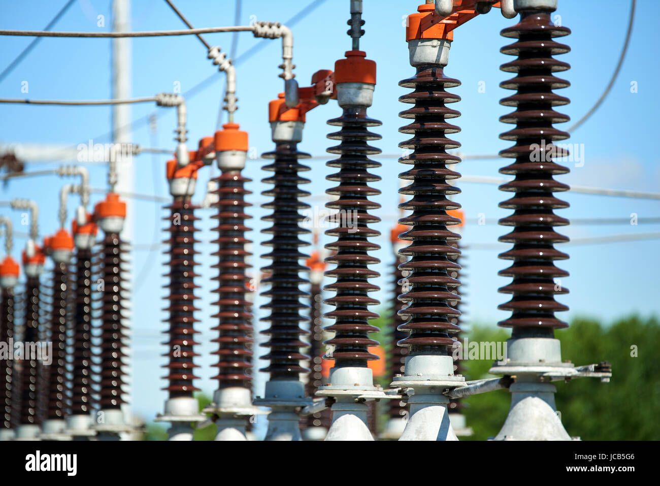 Electric power station  - Detail of High voltage power transformer in substation - Stock Image