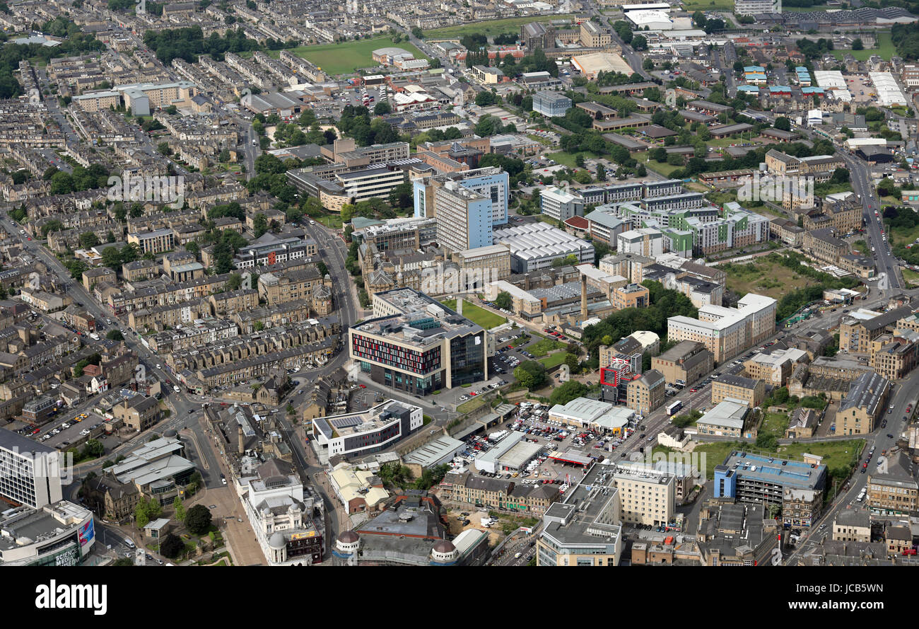 aerial view of The University of Bradford, ILK - Stock Image