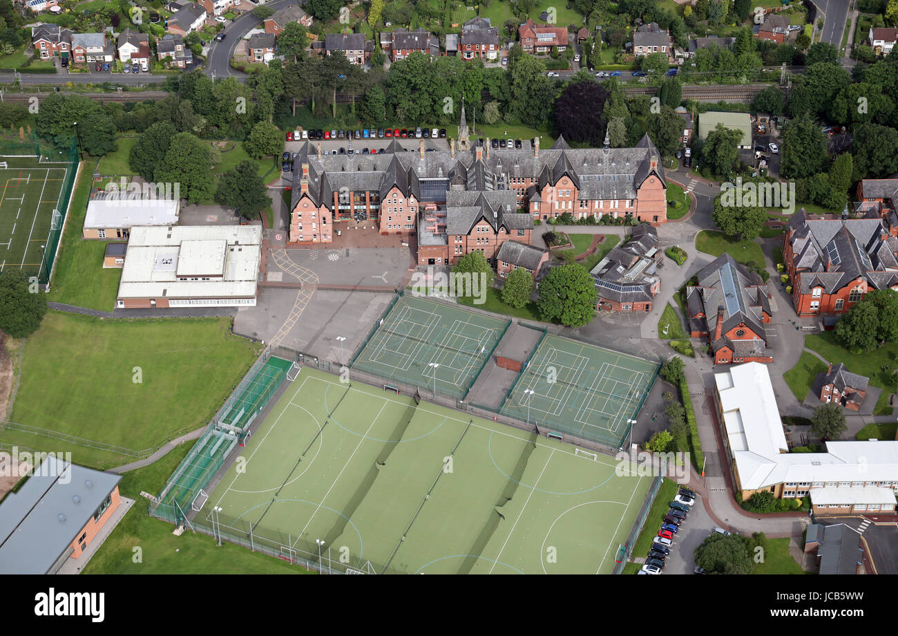 aerial view of Cheadle Hulme School, Cheadle, UK - Stock Image