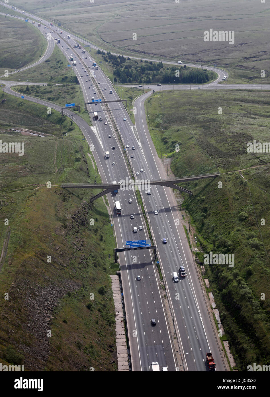 aerial view of the Pennine Way at Junction 22 of M62 motorway, A672, Windy Hill near Oldham, UK - Stock Image