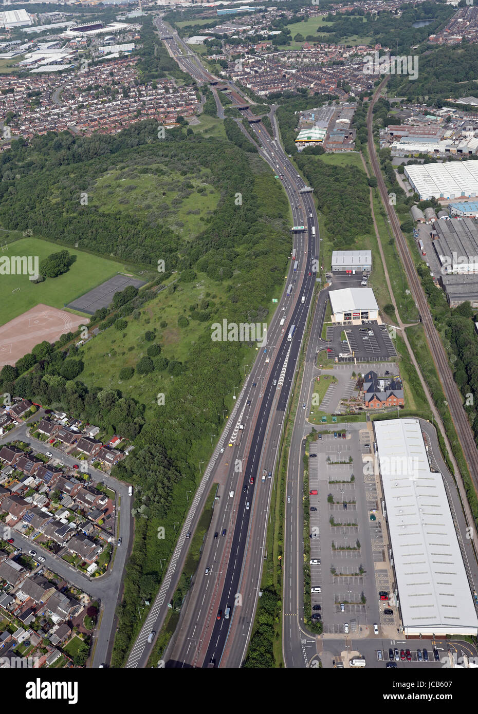 aerial view of the A50 dual carriageway at Stoke on Trent, Staffs, UK - Stock Image