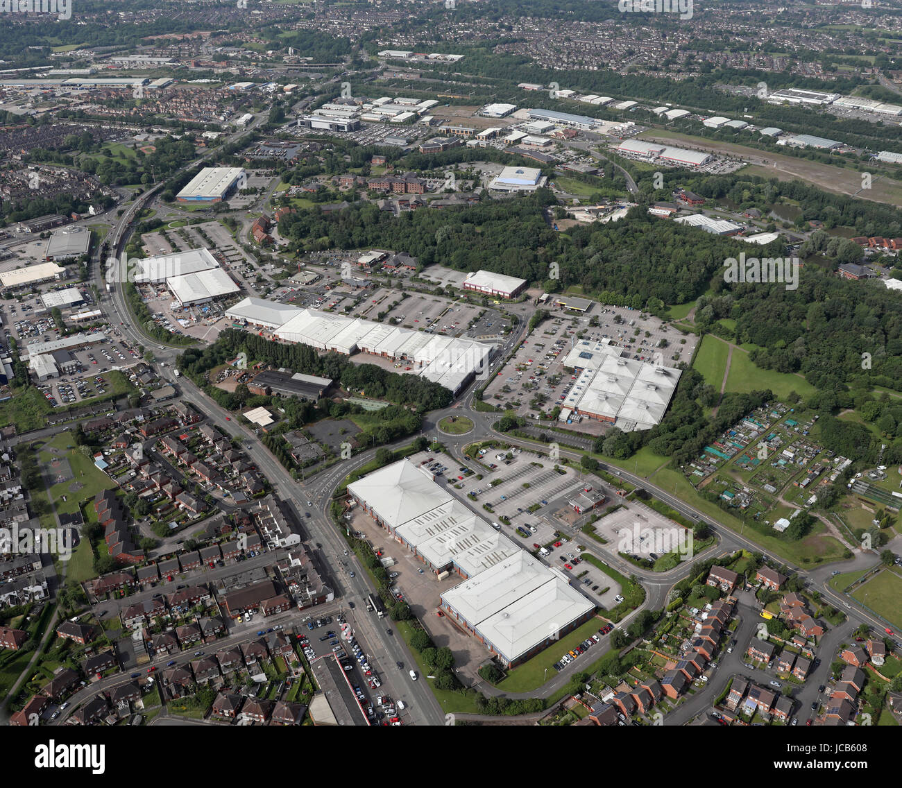 aerial view of Festival Heights Retail Park & Morrisons Superstore, Stoke-on-Trent - Stock Image