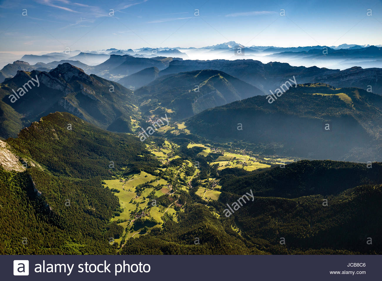Aerial view of Saint-Pierre and Saint-Hugues-de-Chartreuse in the Chartreuse mountain range and natural park - Stock Image