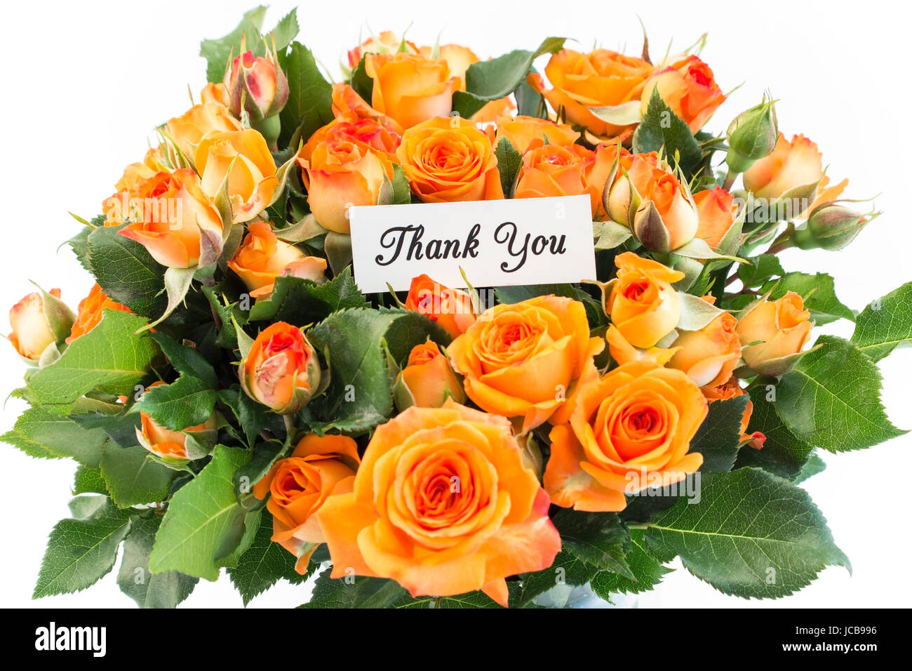 Thank You Card with Bouquet of Orange Roses on a White Background ...