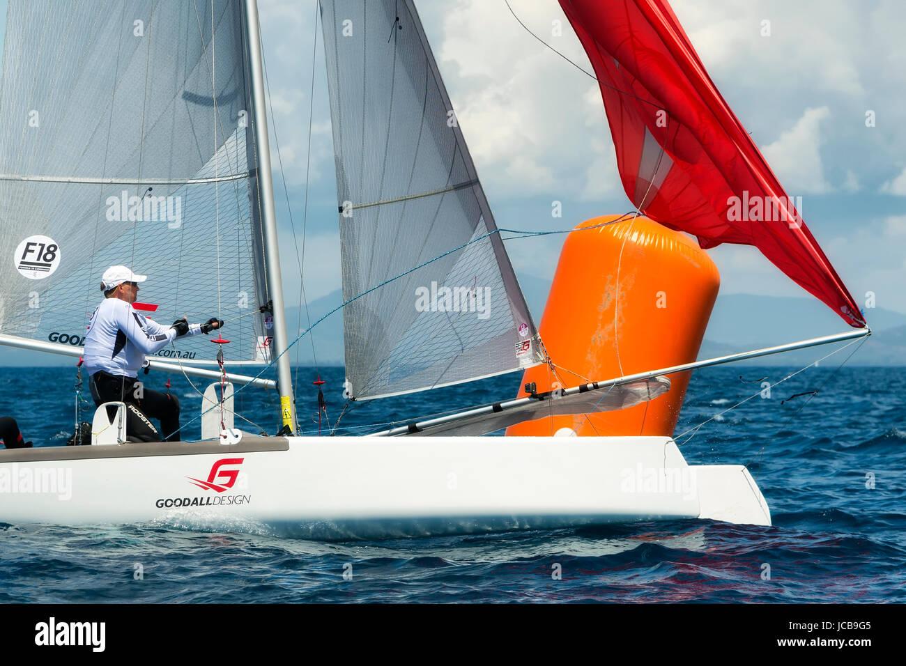 PUNTA ALA - 3 JUNE: athlete sailing on Formula 18 national catamaran regatta, on June 3 2016 in Punta Ala, Italy - Stock Image