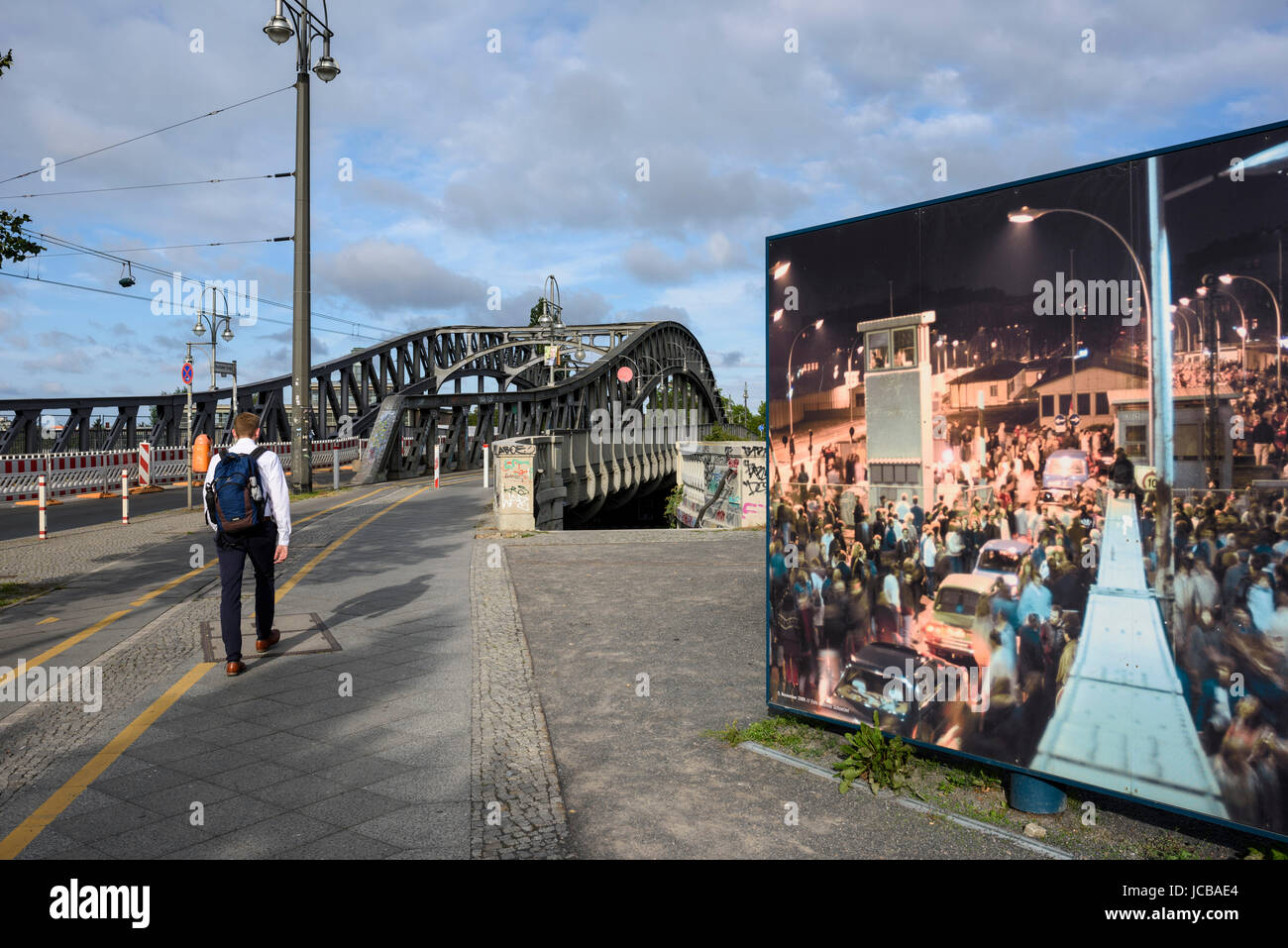 Berlin. Germany. Exhibition on Bornholmer Straße next to Bösebrücke marking the events of 9 November - Stock Image