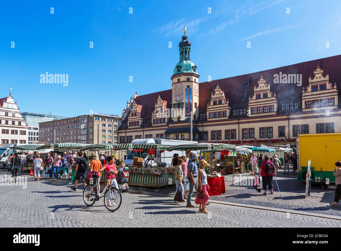 Leipzig, Germany. Market in the Markt (Market Square) in front of the Altes Rathaus (Old Town Hall), Leipzig, Saxony, - Stock Image