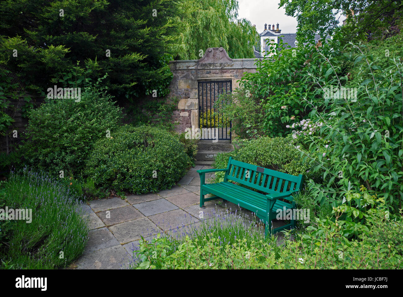 On Chamberlain Road in Edinburgh is a small garden with a gated entrance to the mausoleum of John Livingston, who Stock Photo