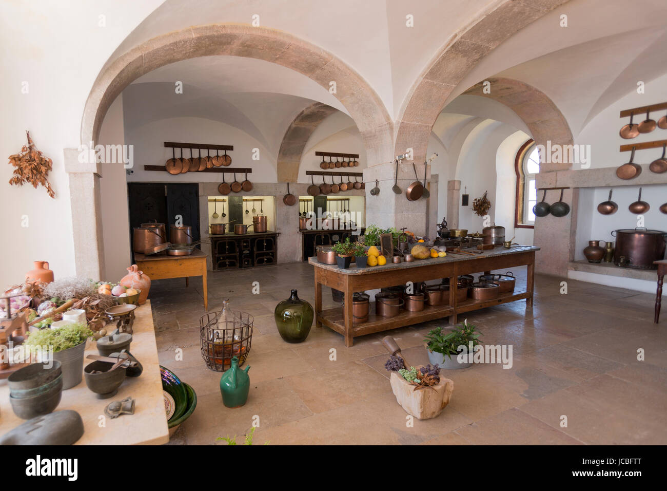 Kitchen at the Palace of Pena, Sintra, Portugal - Stock Image