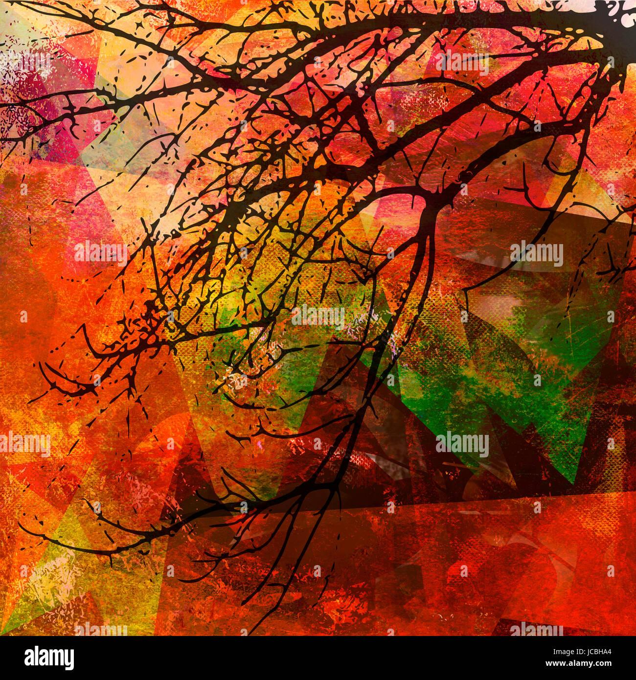 herbst malerei motiv ast - Stock Image