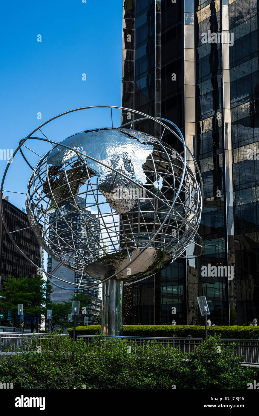 large steel world globe in front of Trump International hotel in New York Stock Photo