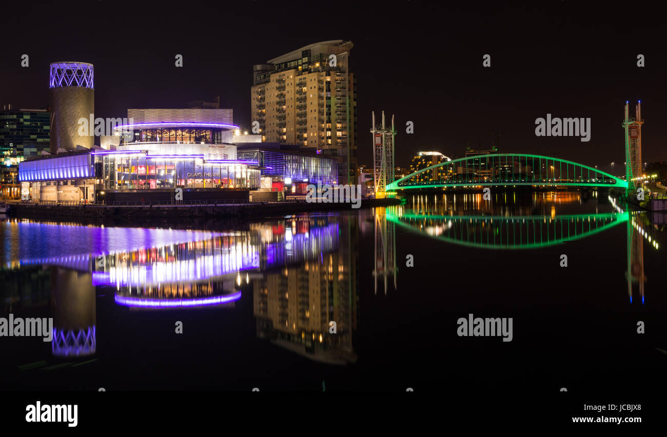 Reflections of Media City Salford Quays Manchester - Stock Image