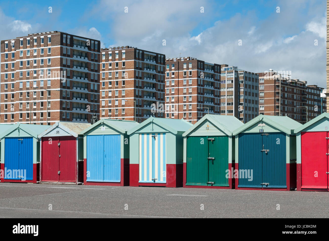 Hove beach huts, United Kingdom - Stock Image