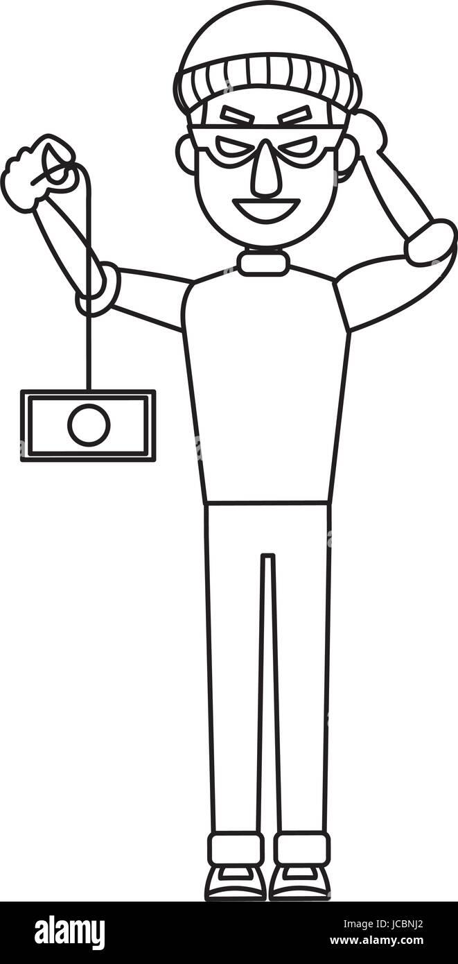 hacker theft hand holding a money - Stock Vector