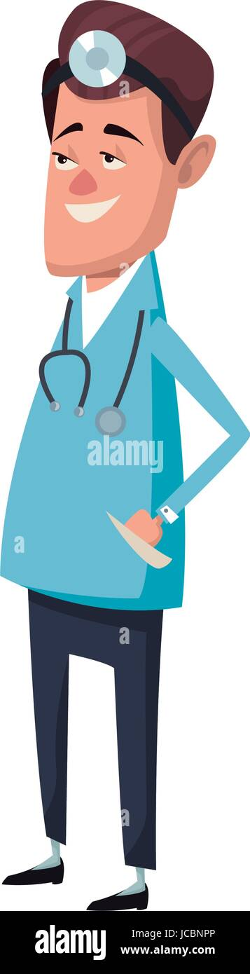 male medicine doctor assistant standing in lab coat with stethoscope vector illustration - Stock Image