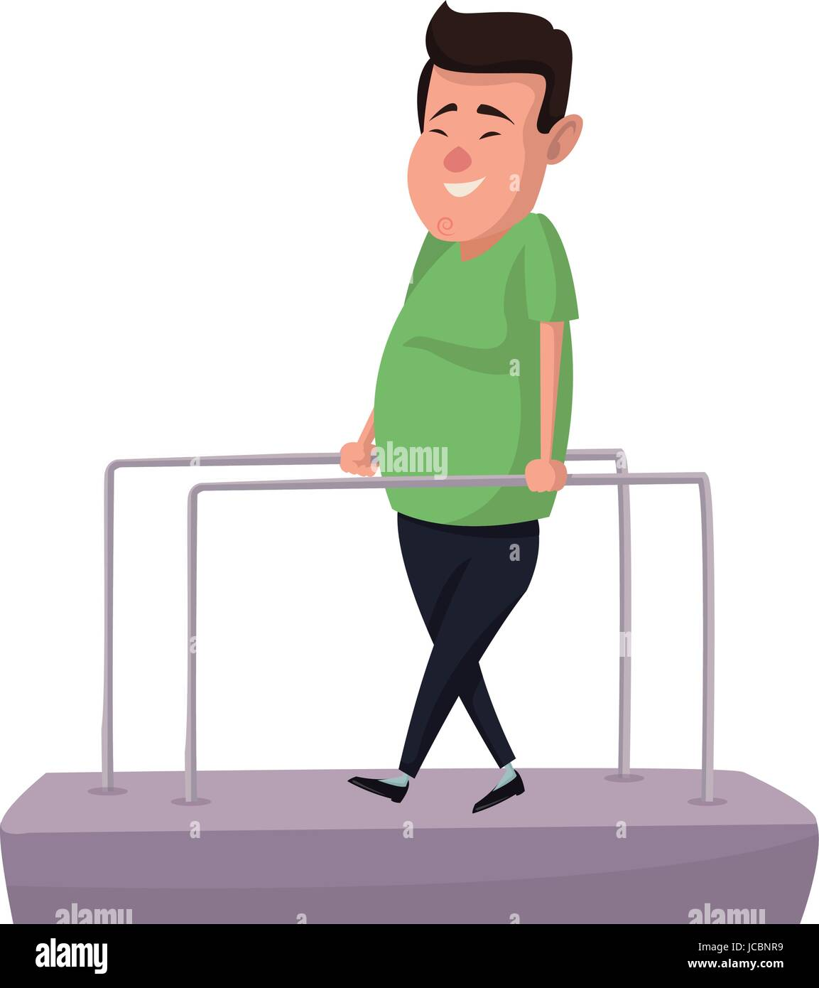 cartoon man patient in the rehabilitation therapy - Stock Image