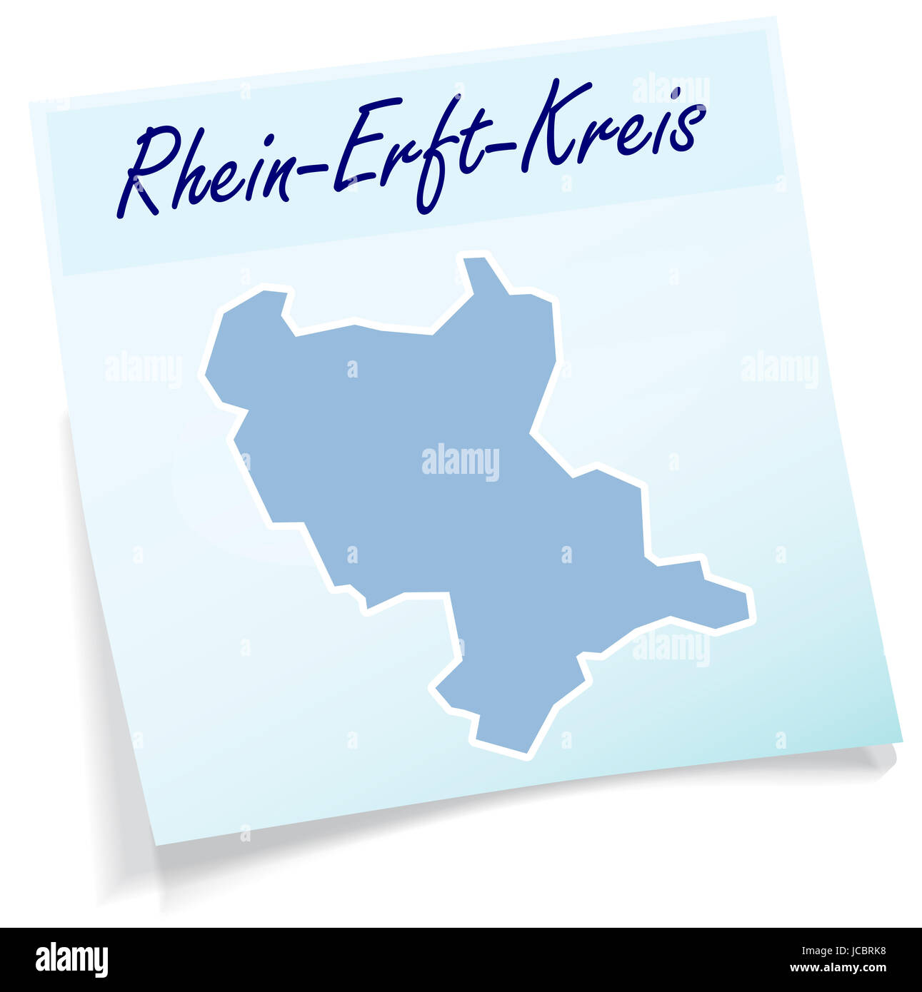 Rhein-Erft-Kreis als Notizzettel in Blau - Stock Image