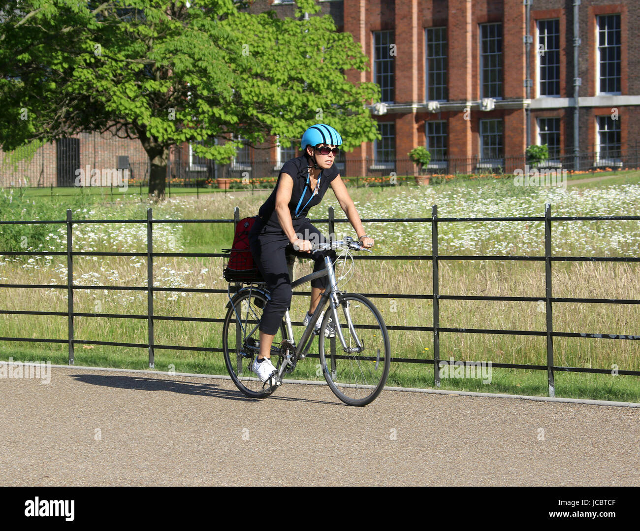 Jun14, 2017 - A cyclist rides in the sun through Kensington Gardens, in the Royal Borough of Kensington and Chelsea - Stock Image