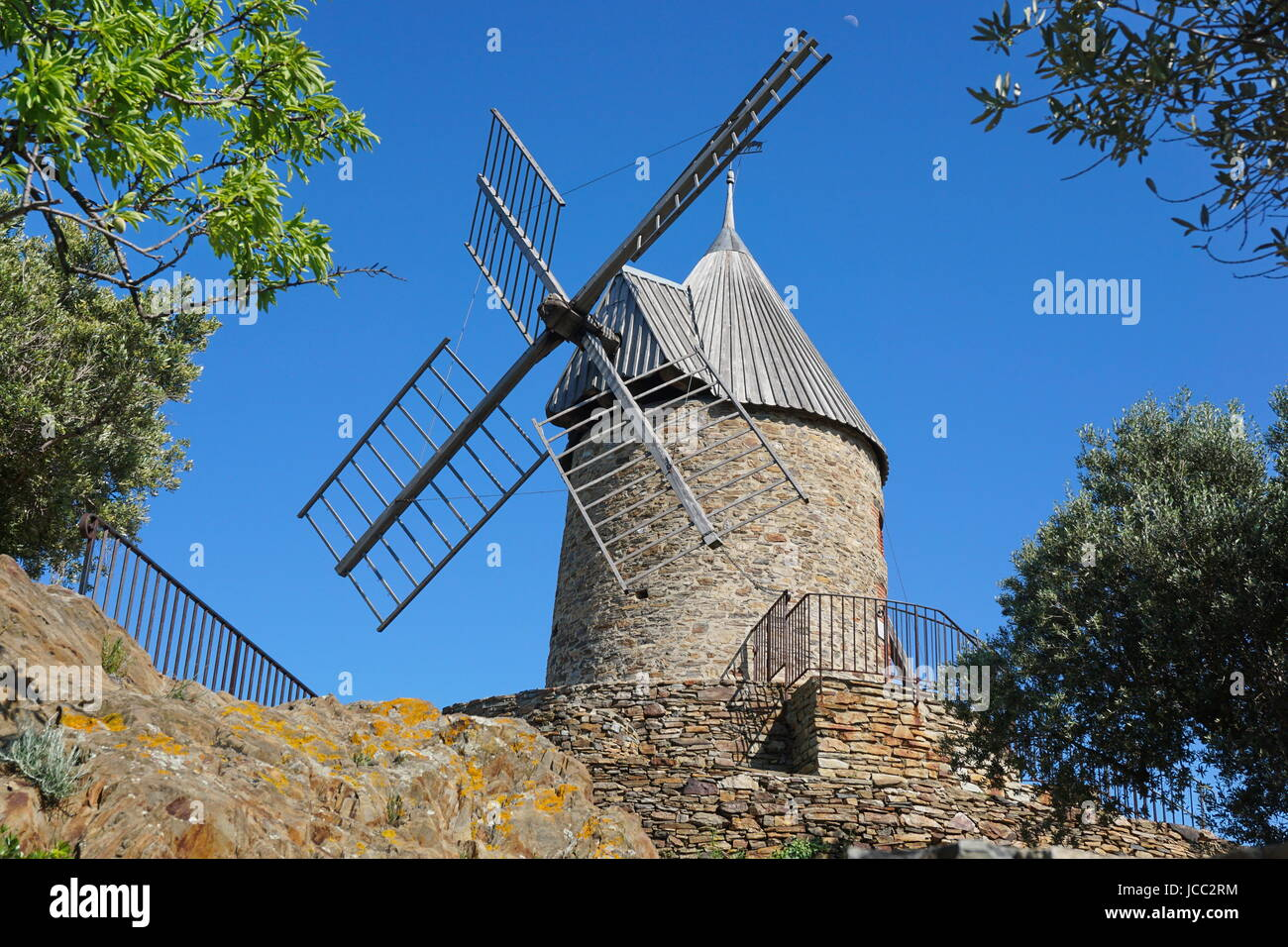 Old windmill made of stones, Collioure, Roussillon, Pyrenees Orientales, south of France - Stock Image