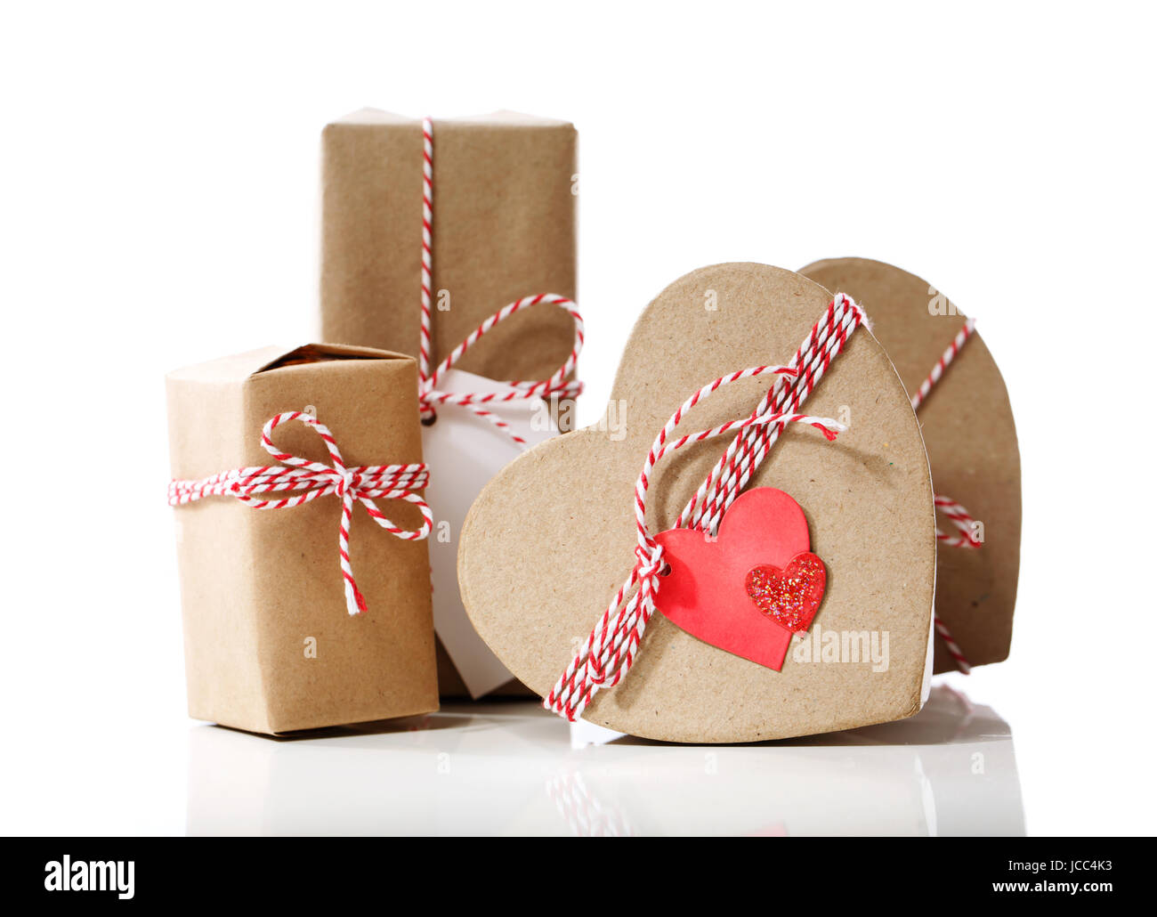 Small Handmade Gift Boxes Isolated On White Background Stock Photo