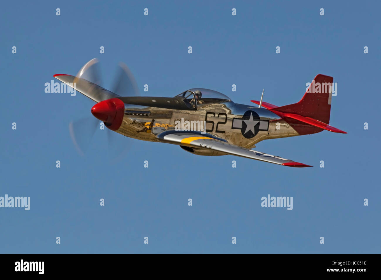 Airplane Wwii Vintage Red Tail P 51 Mustang Fighter Flying