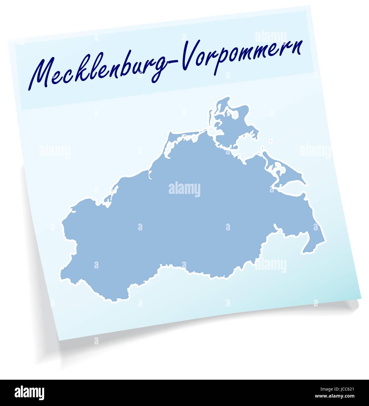 Mecklenburg-Vorpommern als Notizzettel in Blau - Stock Image