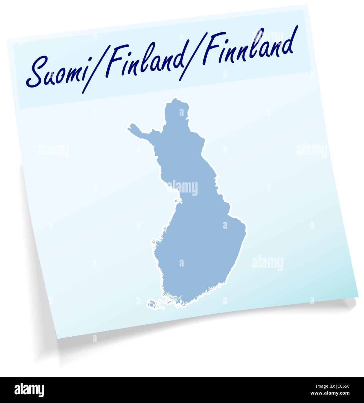 Finnland als Notizzettel in Blau - Stock Image