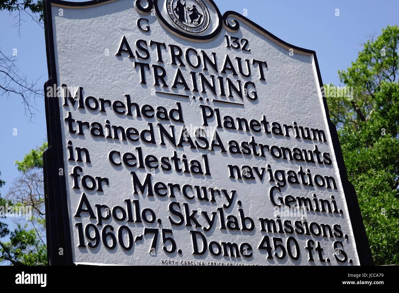 Plaque commemorating training NASA astronauts at Morehead Planetarium, University of North Carolina, Chapel Hill, North Carolina Stock Photo
