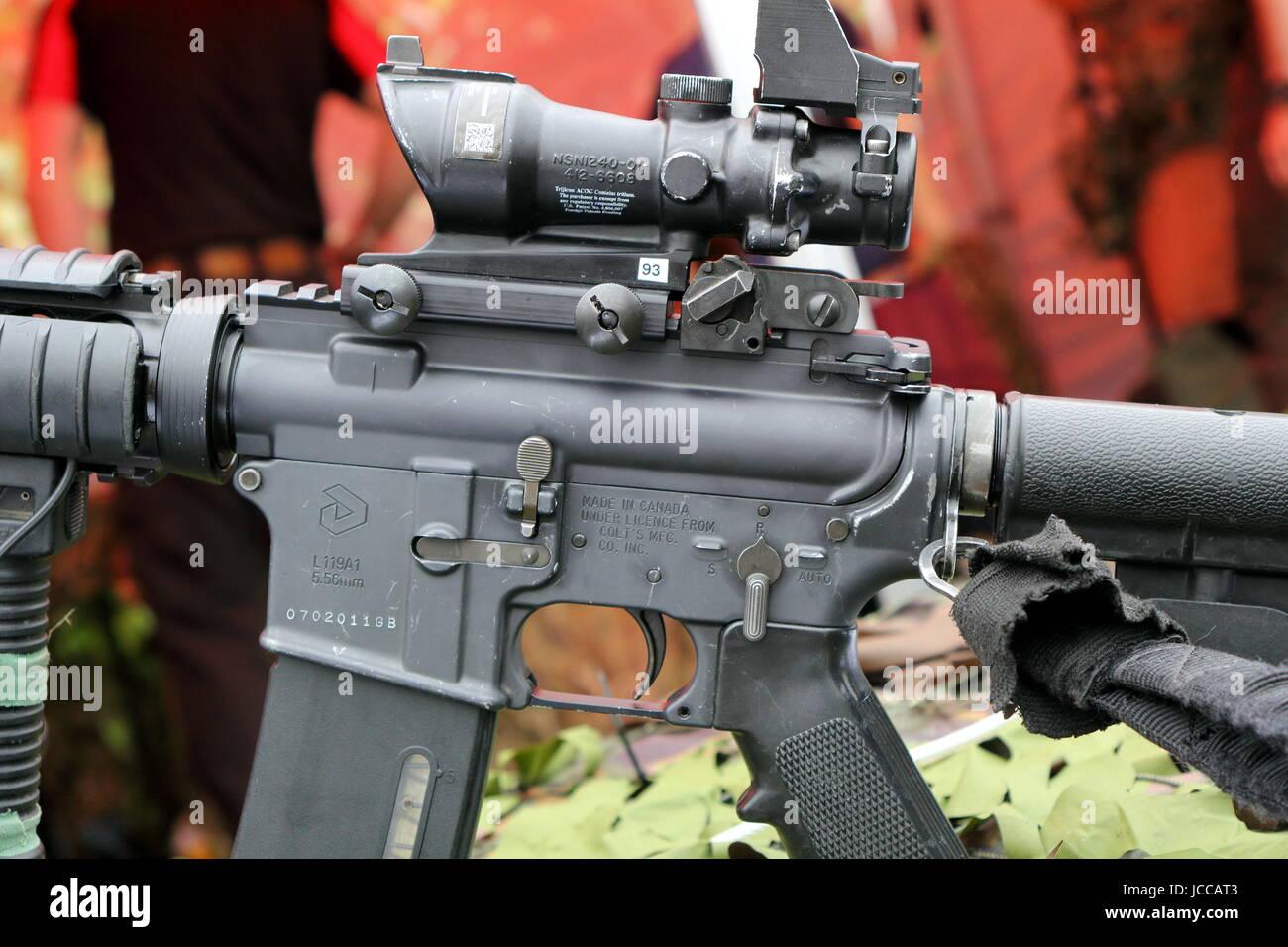 Beaulieu, Hampshire, UK - May 29 2017: Closeup of Colt Canada C8 Carbine L119A1 Stock Photo