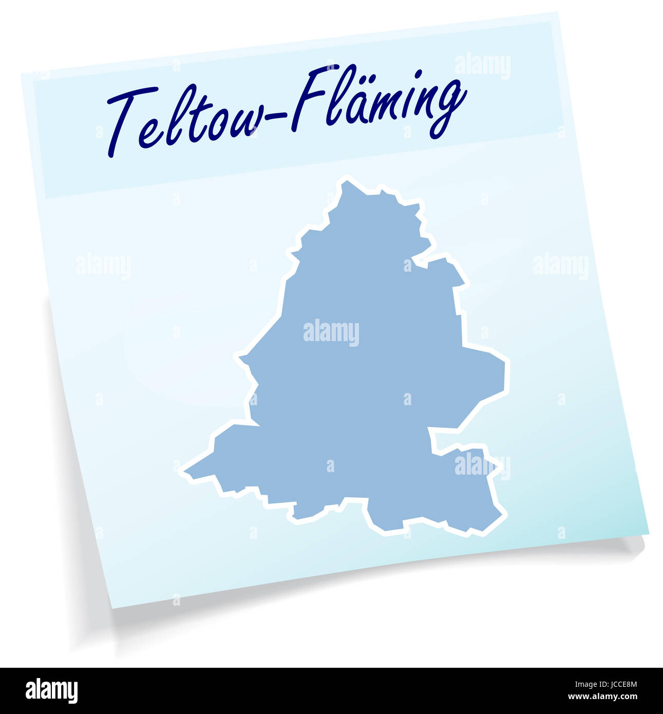 Teltow-Flaeming als Notizzettel in Blau - Stock Image