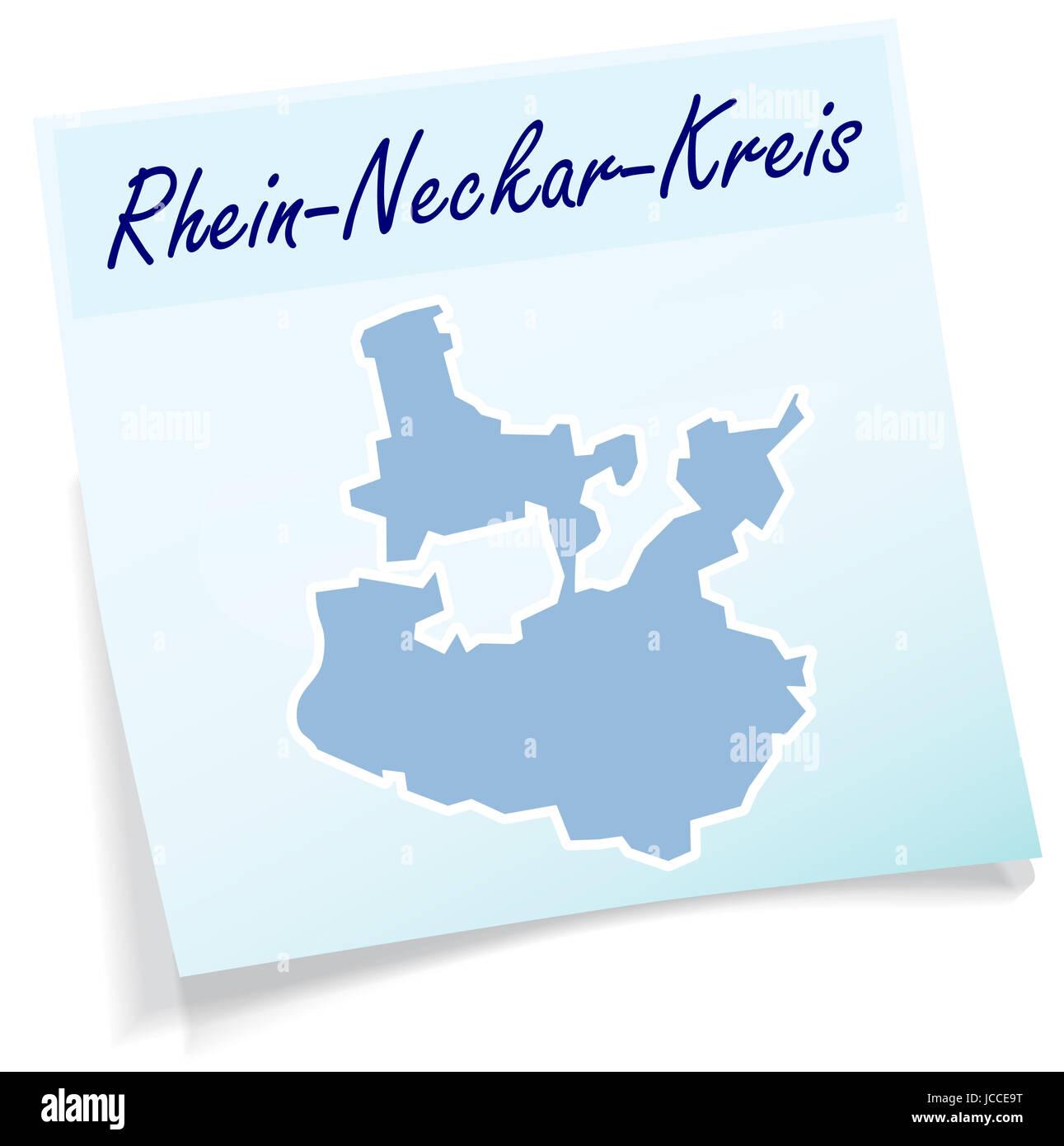 Rhein-Neckar-Kreis als Notizzettel in Blau - Stock Image