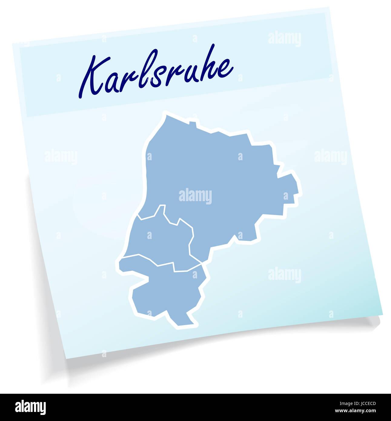 Karlsruhe als Notizzettel in Blau Stock Photo