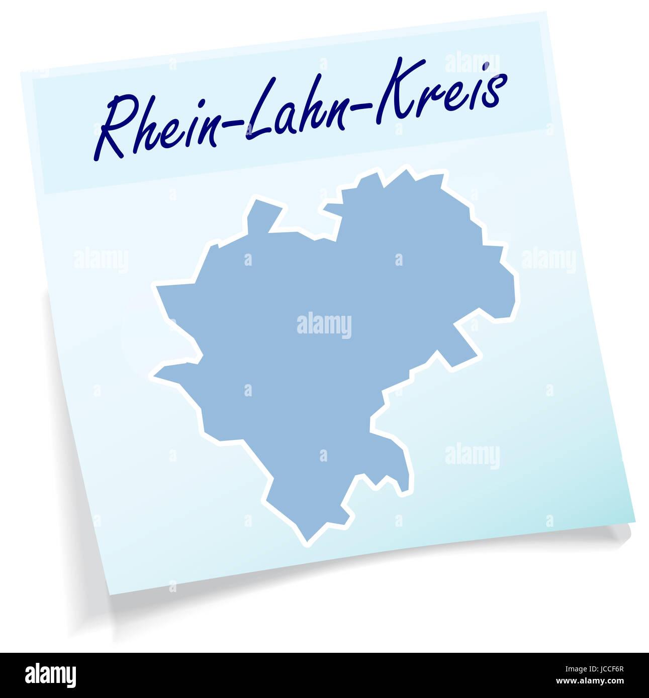 Rhein-Lahn als Notizzettel in Blau - Stock Image